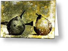 Two Pears Pierced By A Fork. Greeting Card