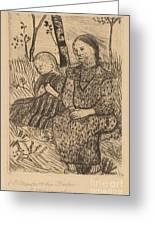 Two Peasant Girls Greeting Card