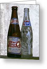 Two Pepsi Bottles On A Table Greeting Card by Daniel Hagerman
