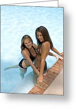 Two Pretty Women In A Pool. Greeting Card