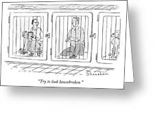 Two Prisoners Sit In Separate Dog Kennel Cells Greeting Card