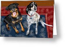 Two Pups On A Persian Carpet Greeting Card