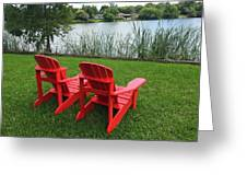 Two Red Chairs Overlooking Lake Formosa Greeting Card