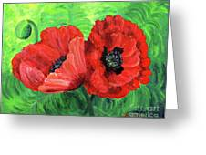 Two Red Poppies Greeting Card