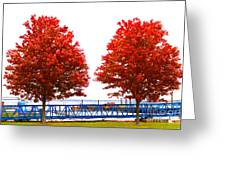 Two Red Trees Greeting Card