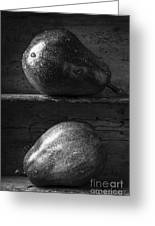 Two Ripe Pears In Black And White Greeting Card