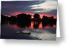 Two Rocks Sunset In Prosser Greeting Card