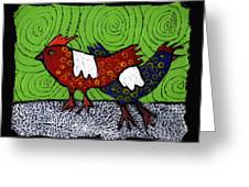 Two Roosters Greeting Card