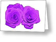 Two Roses Violet Purple And Enameled Effects Greeting Card