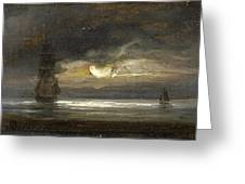Two Sailing Boats By Moonlight Greeting Card