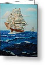 Two Ships Sailing Greeting Card