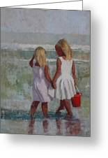 Two Sisters And Red Bucket Greeting Card