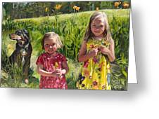 Two Sisters And Their Dog Greeting Card