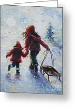Two Sisters Going Sledding Greeting Card