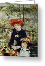Two Sisters Greeting Card by Pierre Auguste Renoir