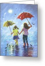 Two Sisters Rain Blond Little Sister Greeting Card
