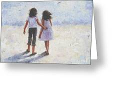 Two Sisters Walking Beach Greeting Card