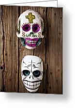 Two Skull Masks Greeting Card