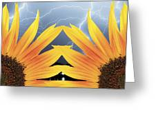 Two Sunflower Lightning Storm Greeting Card