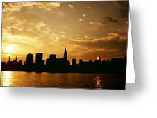 Two Suns - The New York City Skyline In Silhouette At Sunset Greeting Card by Vivienne Gucwa