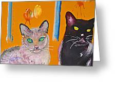 Two Superior Cats With Wild Wallpaper Greeting Card