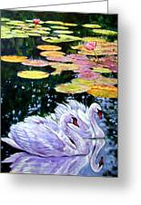 Two Swans In The Lilies Greeting Card