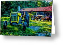 Two Tractors And A Barn 2697t Greeting Card