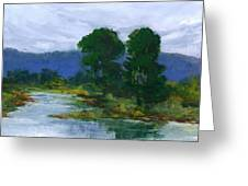 Two Trees In The Bay Land Greeting Card