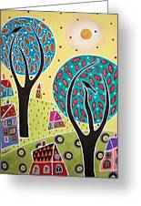 Two Trees Two Birds Landscape Greeting Card