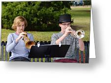 Two Trumpets Greeting Card