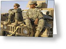 Two U.s. Army Soldiers Relax Prior Greeting Card