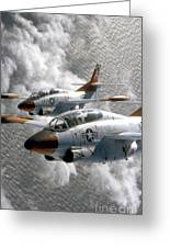 Two U.s. Navy T-2c Buckeye Aircraft Greeting Card