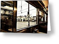 Two Views Inside The Orchid Diner Greeting Card