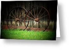 Two Wagon Wheels Greeting Card by Michael L Kimble