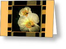 Two Honey Bees Two White Flowers Matted Greeting Card
