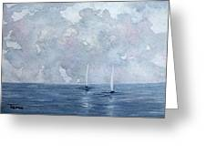 Two White Sails Greeting Card