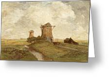 Two Windmills Between Abcoude And Ouderkerk On The Amstel Greeting Card