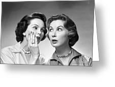 Two Women Gossiping, C.1950-60s Greeting Card