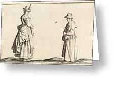 Two Women In Profile Greeting Card
