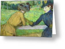 Two Women Leaning On A Gate Greeting Card by Edgar Degas