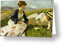 Two Women On The Hillside 1906 Greeting Card