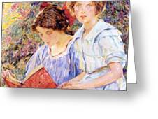 Two Women Reading Greeting Card