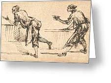Two Workmen At Tables (recto) Greeting Card