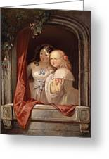 Two Young Ladies At The Window Greeting Card