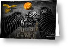 Two Zebras And Macaw Greeting Card