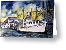 Tybee Island Georgia Boat Greeting Card
