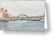 Tyne Bridges And Quayside Greeting Card