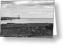Tynemouth Pier Landscape In Monochrome Greeting Card