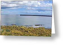 Tynemouth Piers And Lighthouses Panorama Greeting Card