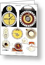 Types Of Clockfaces And Mechanism, 1809 Greeting Card